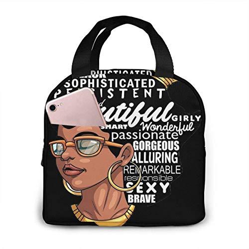 Lonchera aislada impresa mujer afro de melanina para capacidad de mujer, fiambrera reutilizable para bolsa más fresca