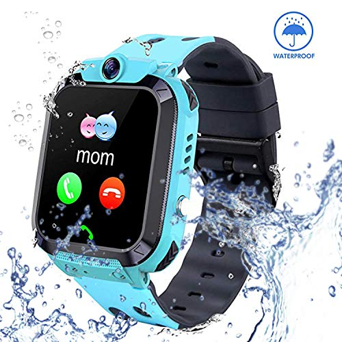 Reloj inteligente para niños con rastreador GPS – IP67 impermeable Smartwatch con cámara de chat de voz SOS reloj despertador reloj para niñas niños