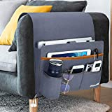 Betoores Sofa Armrest Organizer Bag, Couch Recliner Armchair Caddy with 5 Pockets for Remote Control, Magazine, Cell Phone, iPad, Books, Notebook, Charge Cable - Blue Gray
