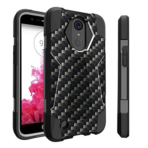 Untouchble Case for LG K20| K 20 Plus| LG Grace | K10 (2017) Case | LG V5 [Traveler Series]- Dual Layer Hard Plastic Inner Silicone Stand Case - Carbon Fiber