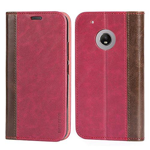 Mulbess Handyhülle für Motorola Moto G5 Plus Hülle Leder, Motorola Moto G5 Plus Handy Hüllen, mit BookStyle Flip Handytasche Schutzhülle für Motorola Moto G5 Plus Hülle, Wein Rot