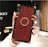 for Samsung Galaxy A20 / A30 Case,Fashion Design Bling Glitter Cute Gold Square Corner Soft TPU Trunk Cover with 360 Degree Rotation Finger Ring Grip Kickstand for Man Women Girl Phone Skin,Red