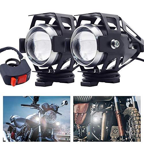 Biqing 2PCS Faros Auxiliares de Moto Con VIGA ALTA/BAJA,U5 Faros Delanteros de Motocicleta de DRL Luces Adicionales Faros 12V 24V Motocicleta Antiniebla Foco Spot Con interruptor