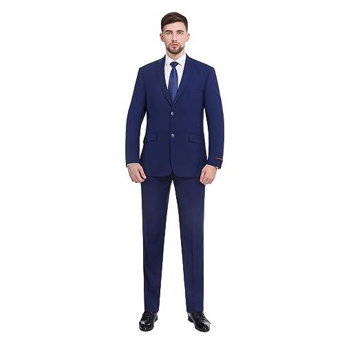 78bb9a39a78 P L Men s Premium Slim Fit 2-Piece Suit Blazer Jacket   Flat Pants Set