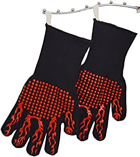 SHANGRUIYUAN-Gloves Cooking Gloves BBQ Gloves Oven Mitt,Hand Protection from Grilling,Kitchen, Fireplace, Grilling (Color : Red, UnitCount : 5 Pairs)