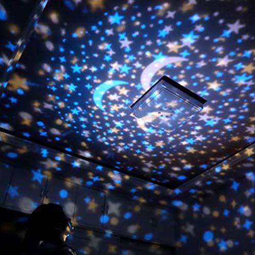 Uonlytech Luz de La Noche de La Estrella Estrella de La Luna Luz Del Proyector Led Luz de La Noche Luz de La Noche Estrellada para Niños en El Hogar 1 Piezas