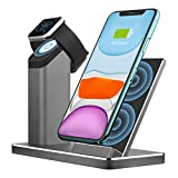 Wireless Charger ZIKU 2 in 1 Aluminum Alloy Fast Wireless Charging Stand Station Dock for Airpods pro Apple Watch 5/4/3/2 iPhone11/ pro max X/XS/XR/Xs Max/8/8 Plus- with 18W Adapter (Gray)