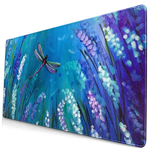 Painted Beautiful Dragonflies Design Pattern XXL XL Large Gaming Mouse Pad Mat Long Extended Mousepad Desk Pad Non-Slip Rubber Mice Pads Stitched Edges (29.5x15.7x0.12 Inch)