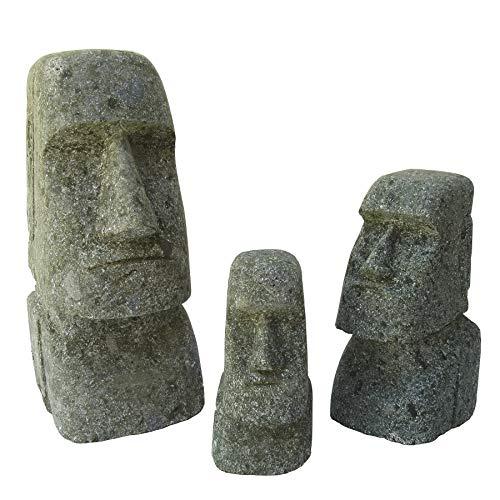 STONE art & more 3er Set Moai, Osterinsel-Kopf, 15 cm, 20 cm und 30 cm, grüner Lavastein, Basanit, Steinmetzarbeit, frostfest
