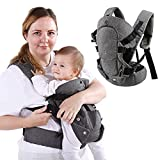 HUIMO Baby Carrier, Ergonomic Design Infant Sling Convertible with Soft Breathable Air Mesh and All Adjustable Buckles for Toddler or Newborn Babies (Grey)