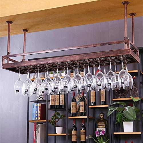 NSYNSY Casier à vin Suspendu casier à vin en métal monté, Fer rétro européen Suspendu à la bière à l'envers et Porte-gobelet inversé pour Cuisine/Bar/Restaurant (Couleur: Bronze, Taille: 80 * 3
