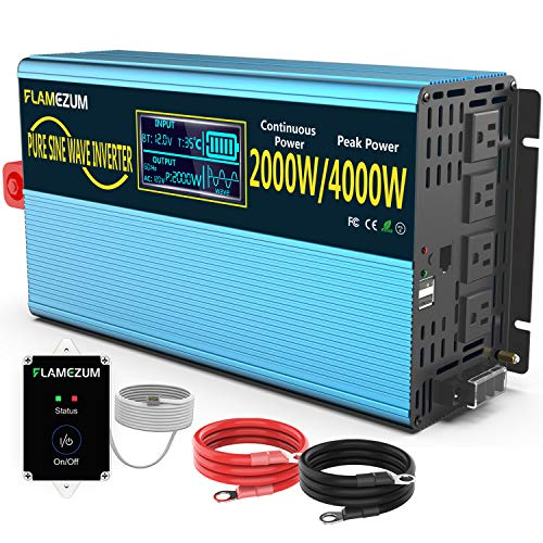 FLAMEZUM 2000w Pure Sine Wave Power Inverter 12V DC to 120V AC Converter 4 AC Outlets 16.4 Feet Remote Control and LCD Display Dual Cooling Fans Inverter for CPAP RV