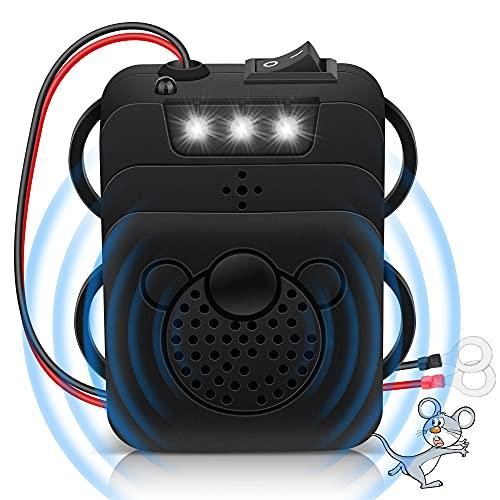 Marderschreck Auto, Marderschutz Ultraschall Tiervertreiber mit LED Blitzlichtfunktion, Anschluss an 12V Autobatterie für Haus, Auto, Carport, Garten