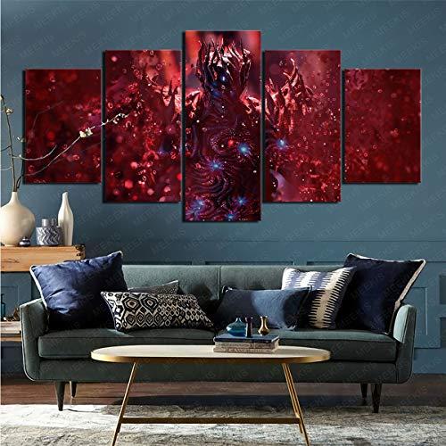 mmkow Impresa en lienzo de 5 piezas videojuego Devil May Cry 5 para sala de estar, dormitorio, decoración del hogar, 100 x 200 cm (enmarcado)