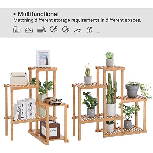 SONGMICS Bamboo Plant Stand, Flower Shelf, Display Rack, Adjustable Shelving Unit for Balcony, Bathroom, Living Room, Yard, Garden, Indoor, Outdoor, Natural UBCB92NL
