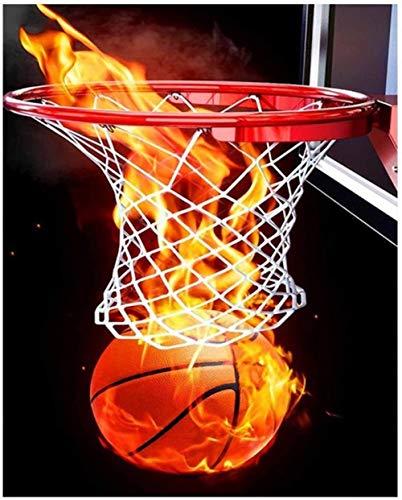BOIPEEI 5D Diy diamante pintura baloncesto fuego decoración del hogar redondo completo taladro bordado deporte decoración del hogar artesanía arte