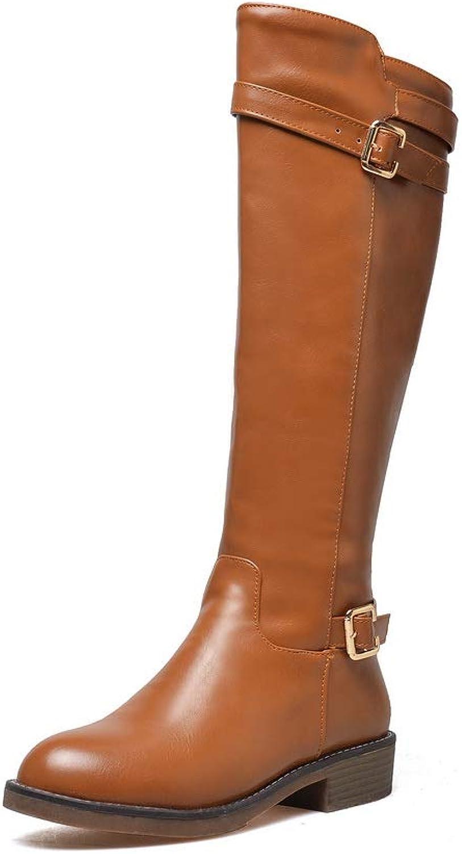 AdeeSu Womens Square Heels Metal Buckles Urethane Boots SXC03497