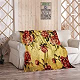 Amiiya Rose Flannel Throw Blanket, Old Fashioned Victorian Style Dramatic Color Bohemian Soft Lightweight Bedding Blanket for Bed Couch Sofa Camping 60 x 80 Inches