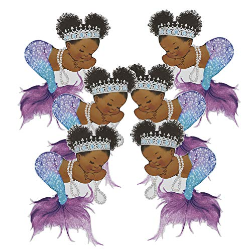 Purple Mermaid Cutouts African American Birthday Baby Shower Paper Decoration (9 inches)