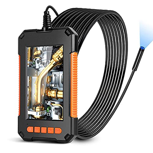 Industrial Endoscope Split Screen Borescope 1080P HD Video Inspection Camera 4.3  IPS Waterproof Snake Camera 8 LED Lights for Car,Air Conditioner, Engine Checking,Sewer Drain Inspection (10M)