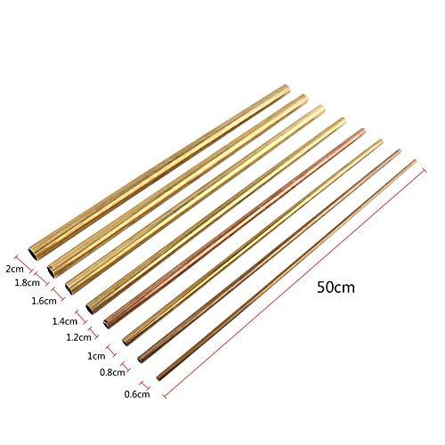 Messingrohr, 1pc 0,6-2cm Länge 50cm Modellbau Runder Außendurchmesser(Außendurchmesser8mm)