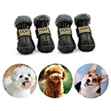 CMNNQ Snow Small Dog Boots, Pet Antiskid Dog Shoes, Winter Waterproof Skidproof Paw Protectors, Warm Booties for Puppy Play (L, Black)