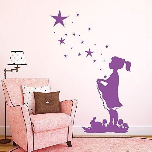 """Wandtattoo-Loft """" Fille avec Étoiles – Contes Sterntaler """" - Sticker Mural / 49 Couleurs / 4 Tailles - Violet, 55 x 83 cm"""