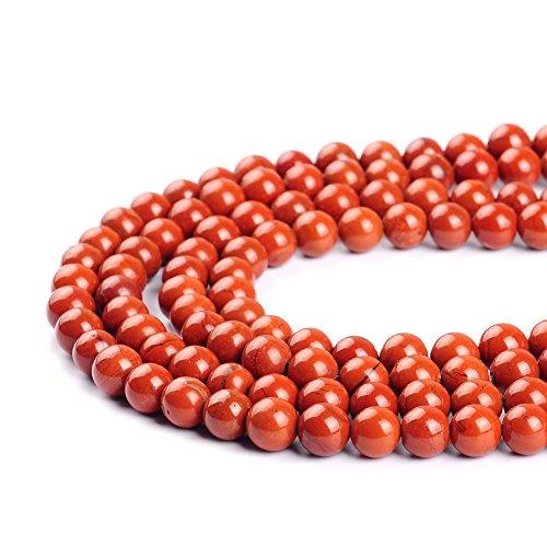 Ruilong Perles rouges en pierre naturelle pour la confection de bijoux 2 mm, 3 mm, 4 mm, 6 mm, 8 mm, 10 mm, 12 mm, Red, 3MM