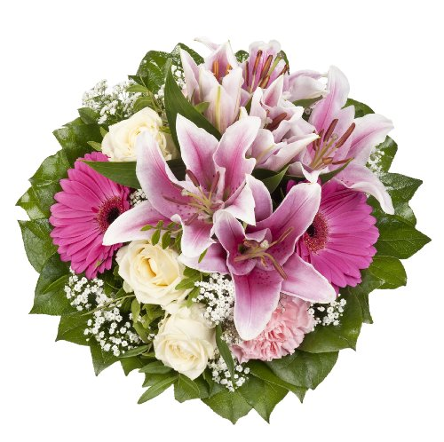 Dominik Blumen und Pflanzen, Blumenstrauß 'Laura' mit rosa Lilien, Rosen und Gerbera