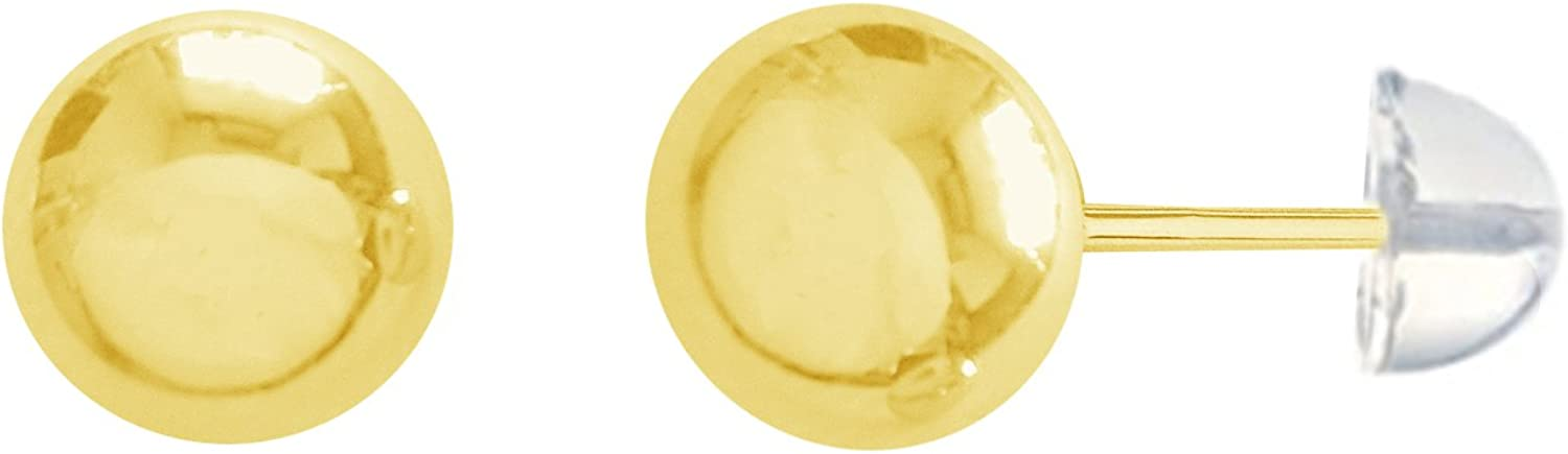 Ritastephens 14K Real Yellow Gold Ball Earrings Polished Stud 4mm Safety Silicone Bubble Back