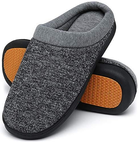 Mishansha Zapatillas de Casa Hombre Cálido Invierno Pantuflas Suave Antideslizante Espuma de Memoria Slippers Negro A, Gr.43 EU