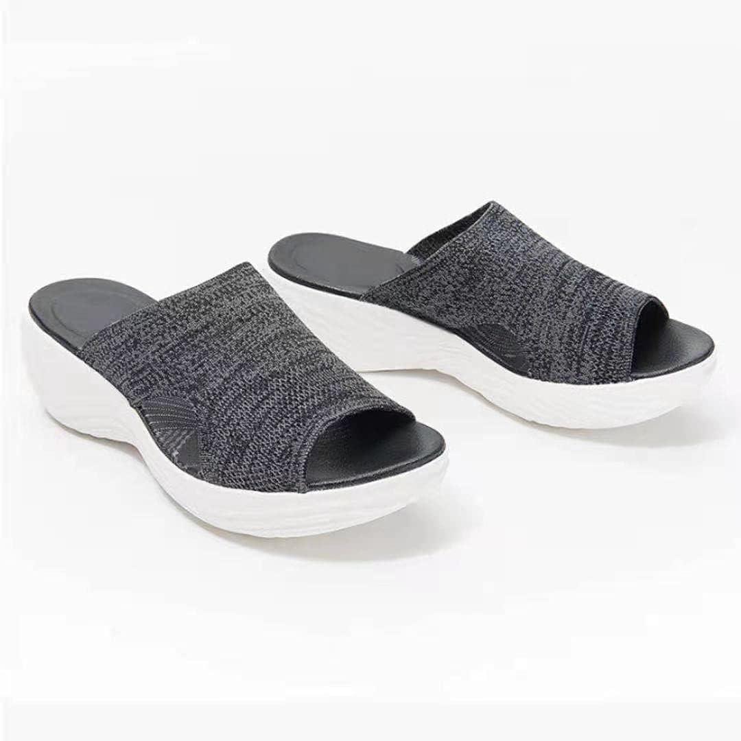 LJZX 2021 Upgraded - Stretch Orthotic Slide Sandals Knitted Sports Corrective Sandals Mesh Upper Slide Wedge Sandals (Black,US 10 (41))