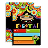Fiesta Mexican Themed Party Invitations for Birthday Celebration, Retirement, or Cinco De Mayo, 20 5'x7' Fill in Cards with Twenty White Envelopes by AmandaCreation