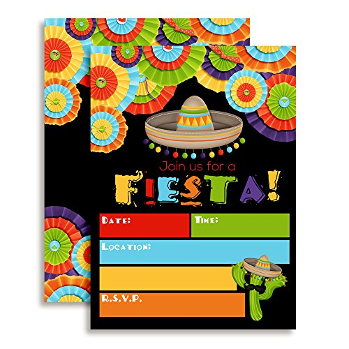 Fiesta Mexican Themed Party Invitations for Birthday Celebration, Retirement, or Cinco De Mayo, 20 5