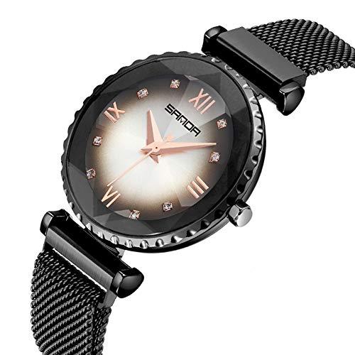 LC-SHWatchs Damenuhr Edelstahlarmband Magnetverschluss Uhr Luxus Klassiker Wasserdicht Schlank Damenuhr Black