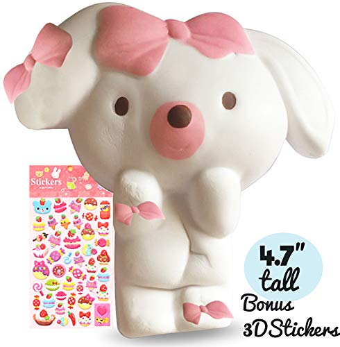 SHOPAFUN and Felix and Wise Puppy Dog Soft Creamy Scented Squishy Kawaii / Slow Rising Stress Relief Squeeze Toy / Bonus Puffy Stickers