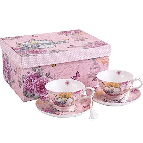 London Boutique Coffee Tea cup and Saucer set 2 Vintage Retro Rose porcelain set Gift Box (Vintage Summer)