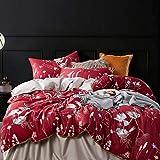 LDDPP Funda de edredón, estilo americano, algodón egipcio de grapas largas, 4 piezas, funda de edredón de algodón satinado, antiarrugas, sin decoloración, Maquillaje Rojo, 1.5m(5ft)/1.8m(6ft) bed