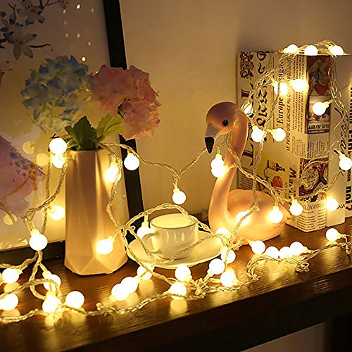 100 LED Globe Ball String Lights with Battery Case 33 FT, 8 Modes Extendable Waterproof Fairy String Lights for Bedroom Indoor Outdoor Party Wedding Christmas Tree Garden, Warm White