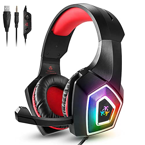 DOOK Cuffie da Gioco RGB, Audio Surround Stereo, Cuffie con Cavo LED da 3,5 mm, con Microfono a cancellazione del Rumore e Controllo del Volume in Linea per PC, Xbox One, PS4, Laptop (Rosso)