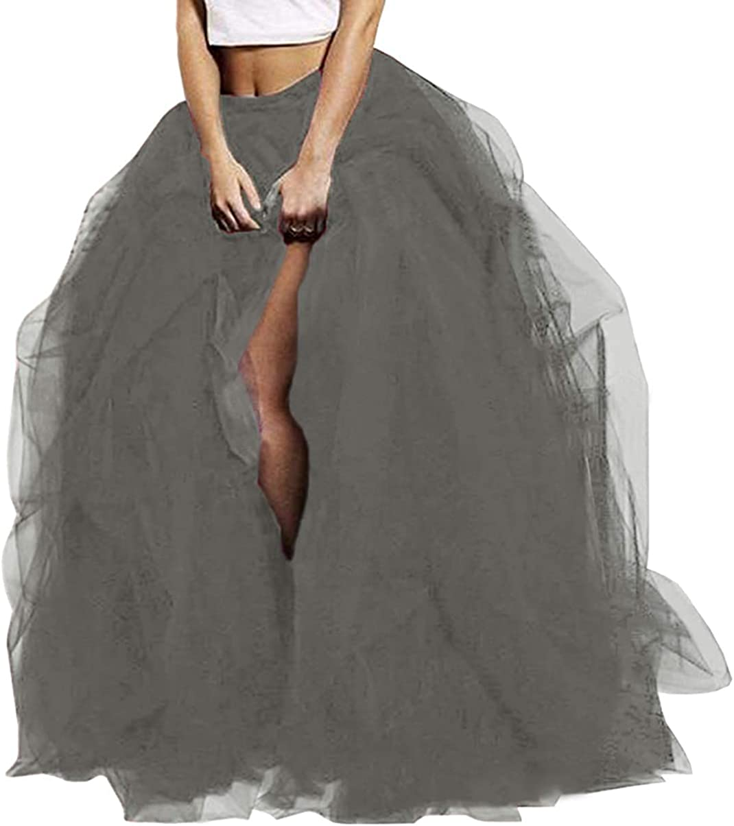 Long Maxi Tulle Skirt Floor Length Layered High Waist Wedding Planning Special Occasion Bustle Night Out Skirts