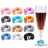 PH PandaHall 12pcs Cat Drink Markers Animal Cat Kitty Wine Charms Silicone Glass Markers for Champagne Flutes Cocktails Martinis Wine Glass