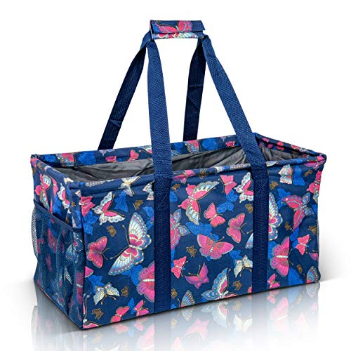 Extra Large Utility Tote Bag - Oversized Collapsible Reusable Wire Frame Rectangular Canvas Basket With Two Exterior Pockets For Beach, Pool, Laundry, Car Trunk, Storage - Butterfly Pink