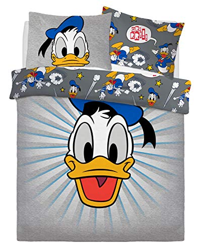 Disney Sleepdown Donald Duck Double Reversible Bedding Set and Pillowcases, Cotton Mix, Multi