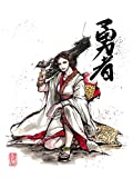 8x10' PRINT of Princess Leia with Blaster in Hand with Kimono with Japanese Calligraphy