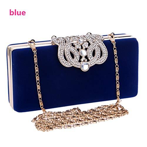 Crown Strass Abendtaschen Diamant-Kupplungs-Mappen-Schulter-Ketten-Beutel für Hochzeit Dame Purse Handtaschen Blue