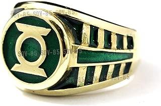 Brass Flat Green Lantern Ring Brass Ring Flat Green Lantern Ring SZ 6-15 US