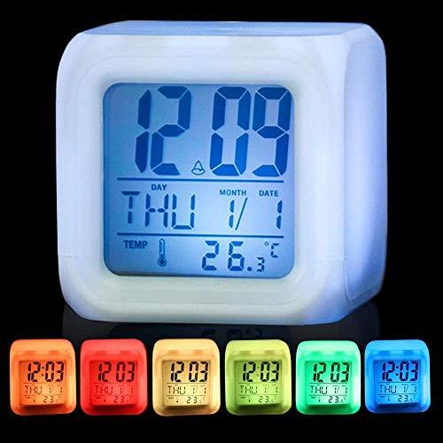 Sveglia digitale 7 LED cambia colore luce notturna Glowing Cube Alarm clock Light Up, Wake Up elettronico sveglia termometro calendario, bianco.