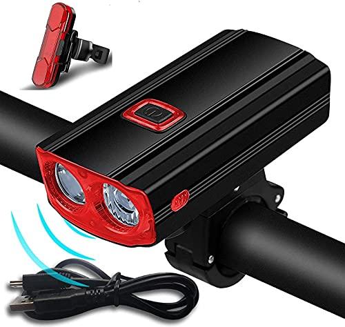 ZJDM Juego de Luces para Bicicleta, Luces de Bicicleta Recargables USB con bocina, Luces Delanteras y traseras traseras Impermeables IPX5 para Todas Las Bicicletas, montaña, Carretera