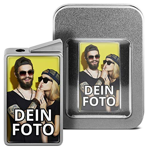 PhotoFancy® - Feuerzeug mit eigenem Foto Bedrucken - personalisiertes Gasfeuerzeug inkl. Metall-Geschenk-Box